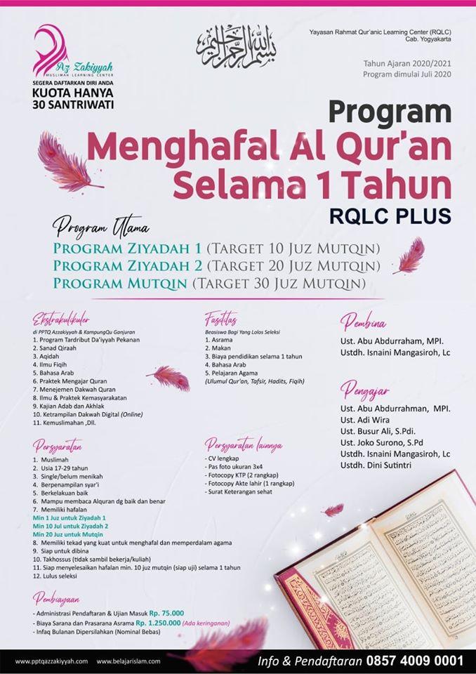 Program Beasiswa Pengahafal Quran Putri 2020